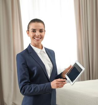 Housekeeping Manager with tablet